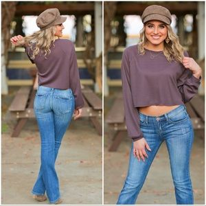 ✨RESTOCKED✨Eggplant Cropped Thermal Top